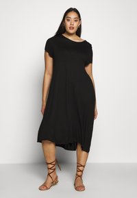 Even&Odd Curvy - BASIC JERSEY DRESS - Žerzejové šaty - black - 0