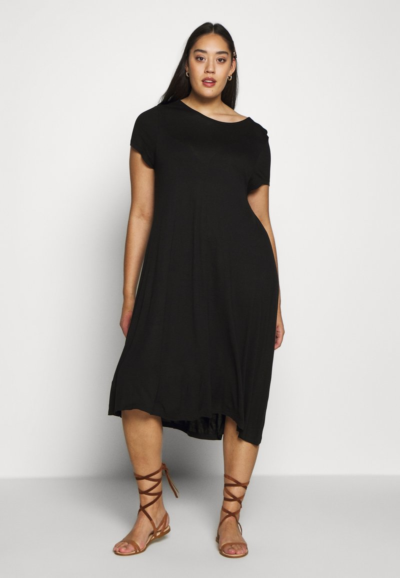 Even&Odd Curvy - BASIC JERSEY DRESS - Žerzejové šaty - black
