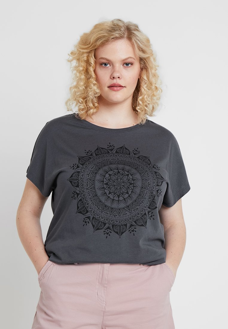 Even&Odd Curvy - Print T-shirt - anthracite