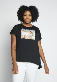 Even&Odd Curvy - Print T-shirt - black/nude - 0