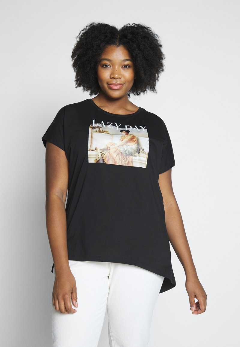 Even&Odd Curvy - Print T-shirt - black/nude