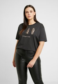 Even&Odd Curvy - Camiseta estampada - anthracite - 0