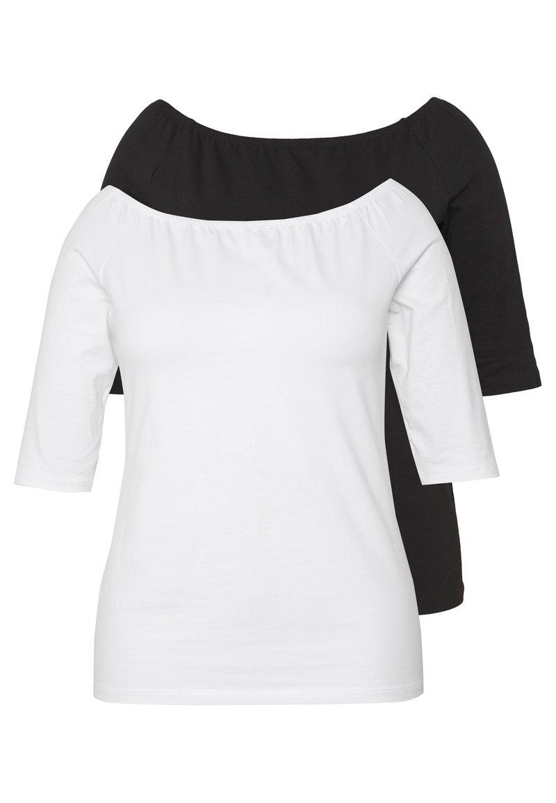 Even&Odd Curvy - 2 PACK - Long sleeved top - white/black