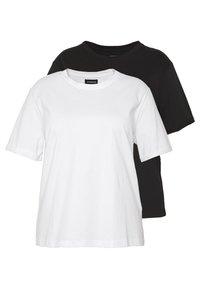 Even&Odd Curvy - 2 PACK - T-shirts - white/black - 0