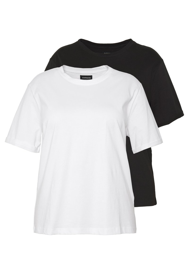 Even&Odd Curvy - 2 PACK - T-shirts - white/black