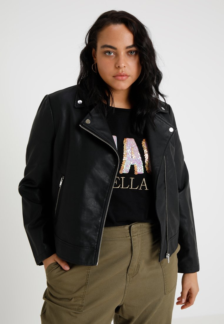 Even&Odd Curvy - Faux leather jacket - black
