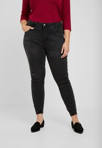 Even&Odd Curvy - Jeansy Skinny Fit - washed black - 0