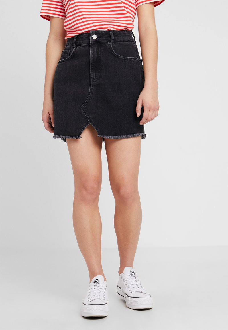 Even&Odd Petite - Áčková sukně - black denim
