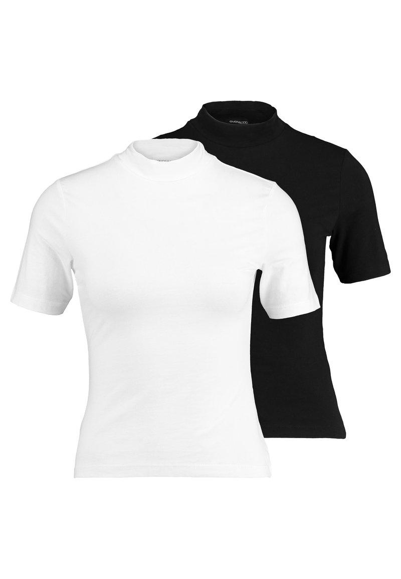 Even&Odd Petite - 2ER PACK - Print T-shirt - white/black