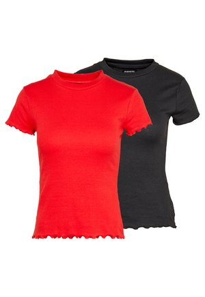 2ER PACK - Basic T-shirt - goji berry/black