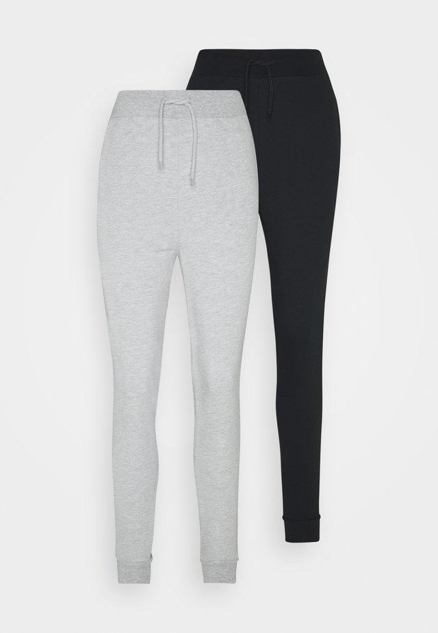 2 PACK SLIM FIT JOGGERS - Joggebukse - black/mottled grey
