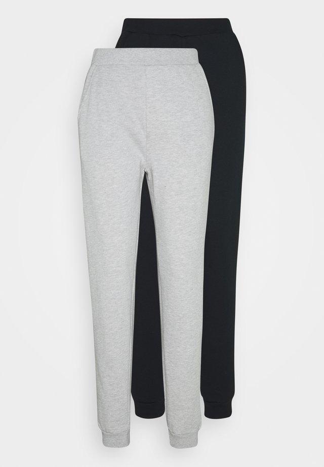 2PACK REGULAR FIT JOGGERS - Joggebukse - black/light grey