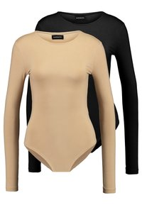 Even&Odd Tall - ROUND NECK LONG SLEEVES 2 PACK - Long sleeved top - tan/black - 0