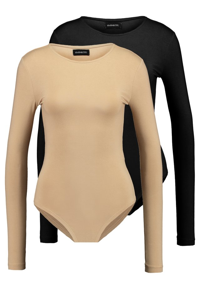 ROUND NECK LONG SLEEVES 2 PACK - Bluzka z długim rękawem - tan/black