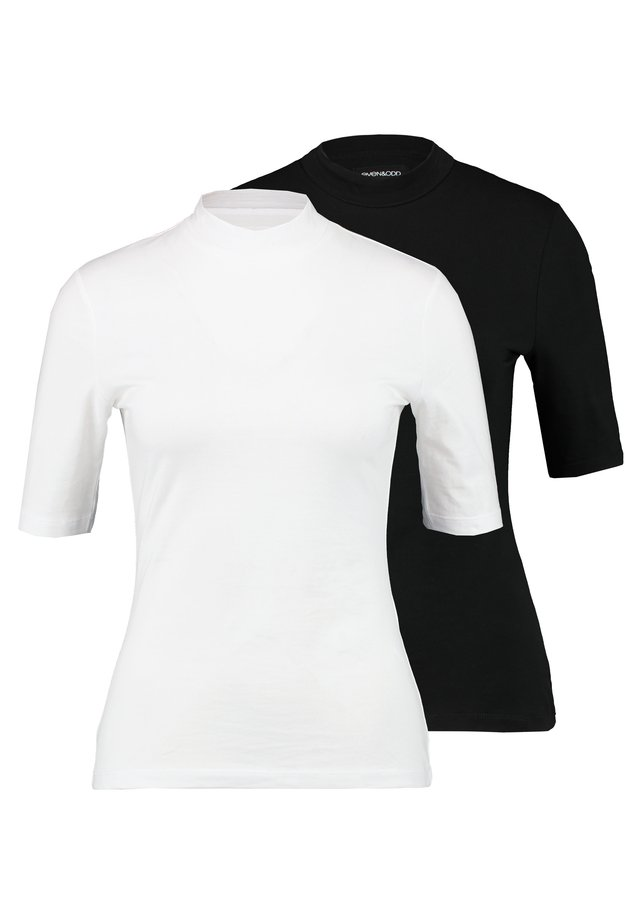 2PACK - Basic T-shirt - white/black