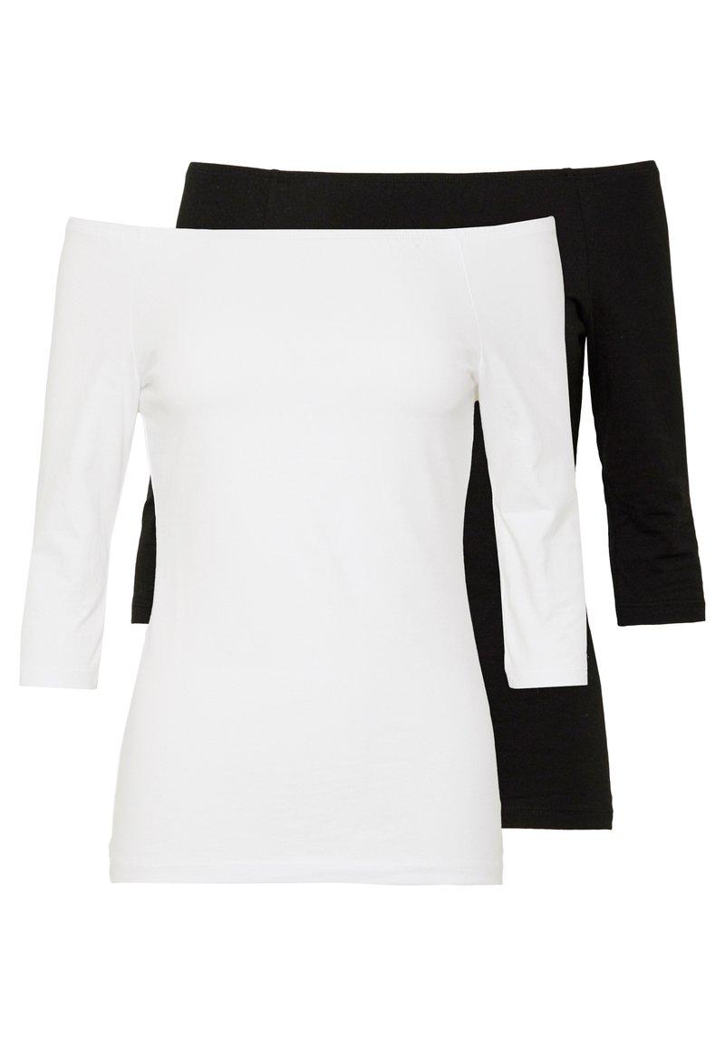 Even&Odd Tall - 2 PACK  - Topper langermet - white/black