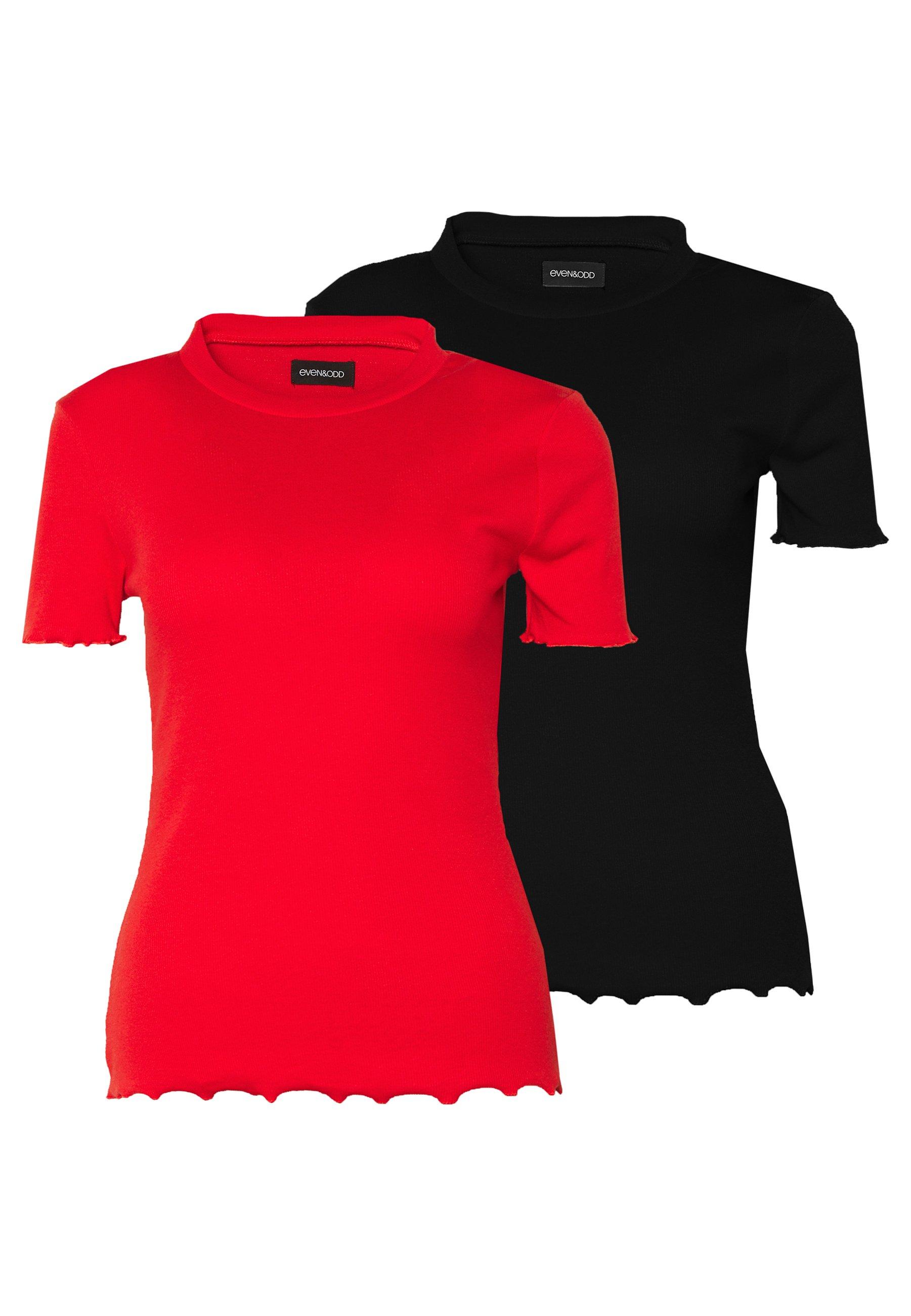 Even&Odd Tall 2 PACK - T-shirts - goji berry/black