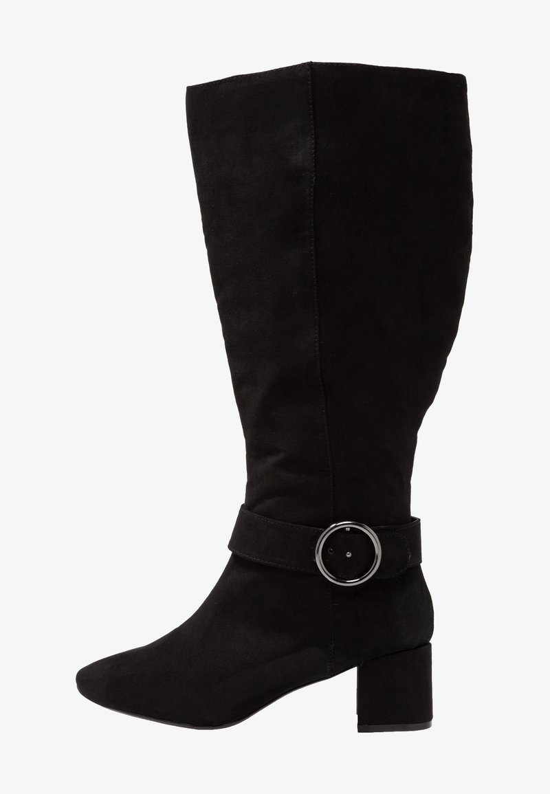 Evans - WIDE FIT CIRCLE BUCKLE DETAIL LONG BOOT - Stiefel - black