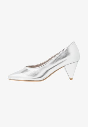 WIDE FIT FLISS CONE HEEL COURT - Czółenka - silver