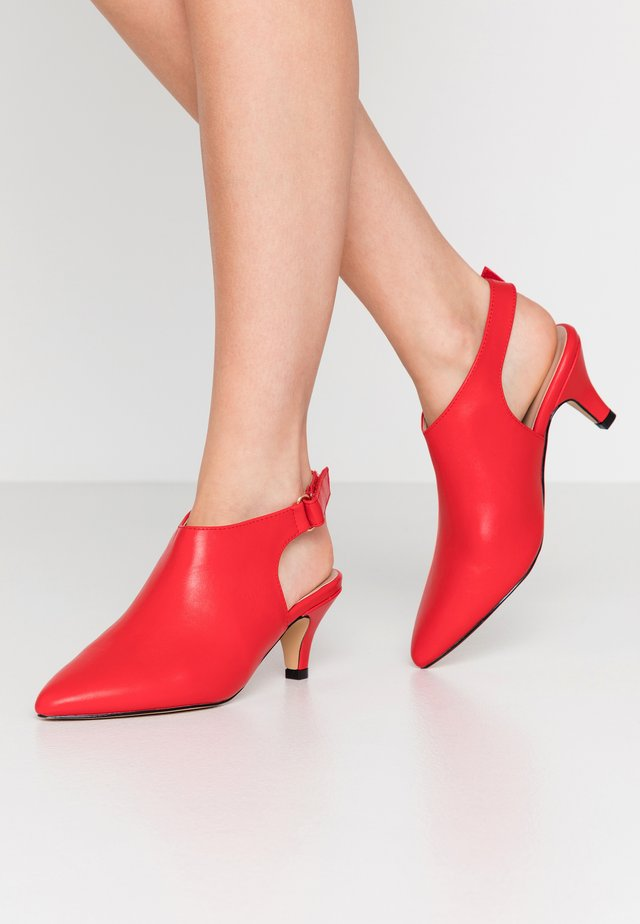 WIDE FIT FARIA HIGH FRONT SLINGBACK SHOE - Ankle Boot - red