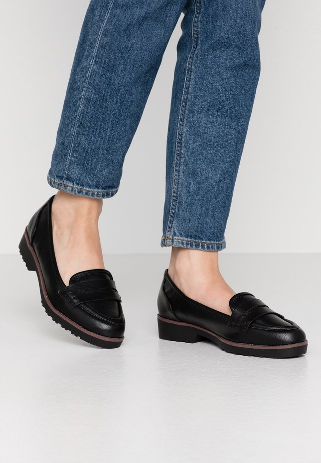 WIDE FIT RUBBLE LOAFER - Slip-ons - black