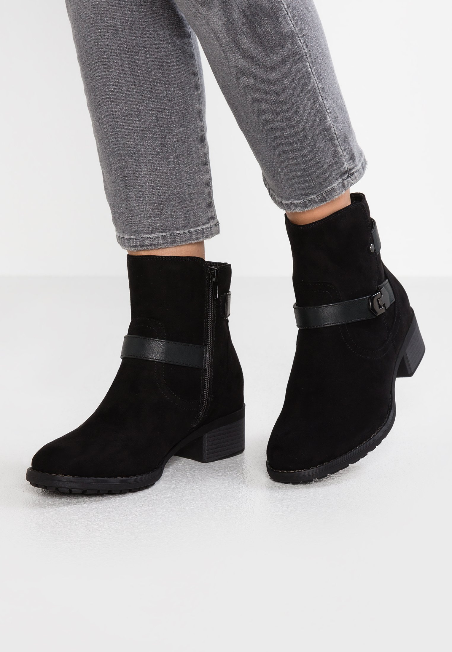 Detail Fit Evans Wide Buckle Black BootBottines oeECxBQrdW