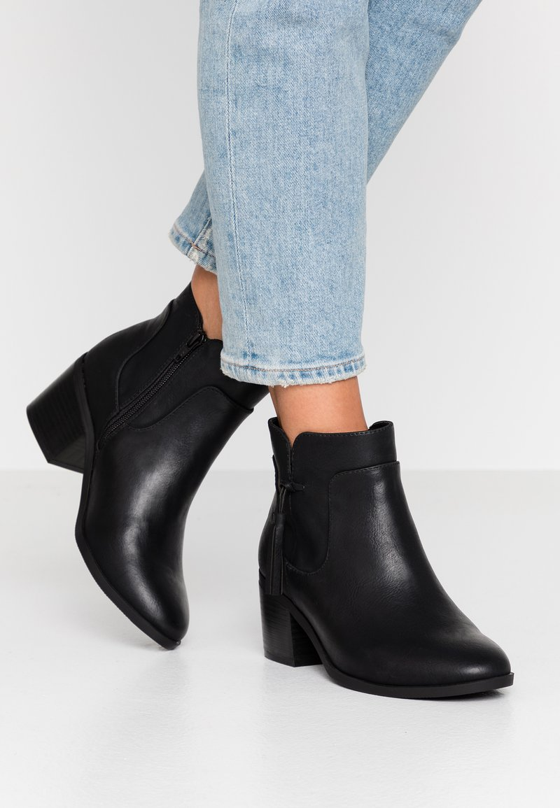Evans - WIDE FIT AIDEN HEELED TASSLE - Ankle boots - black