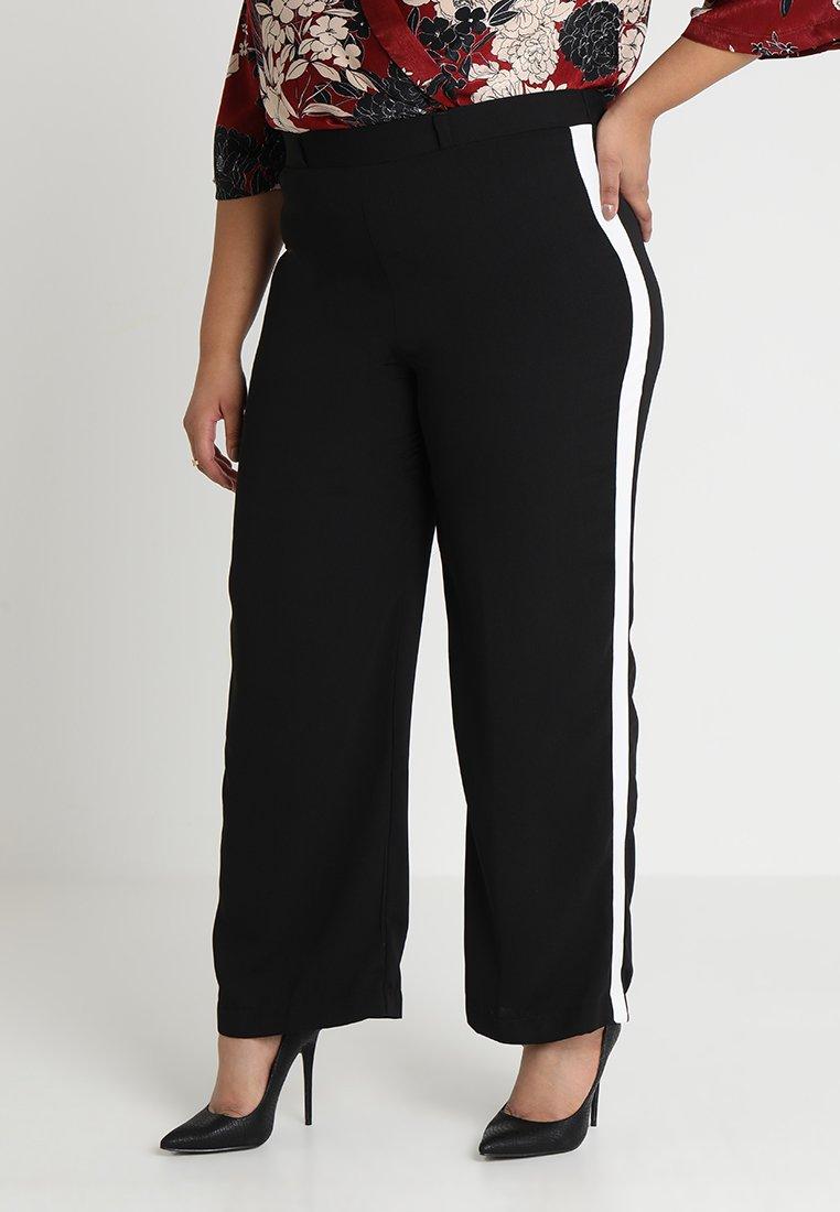 Evans - SIDE STRIPE WIDELEG - Trousers - black