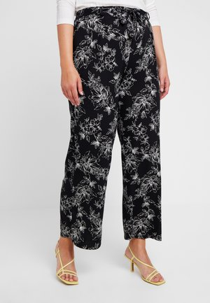 SKETCHY FLORAL WIDE LEG - Trousers - black/white