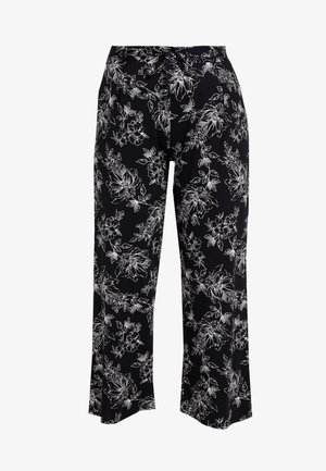 SKETCHY FLORAL WIDE LEG - Kalhoty - black/white