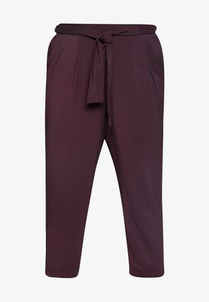 PLUM TIE FRONT TAPERED TROUSER - Pantalones - purple