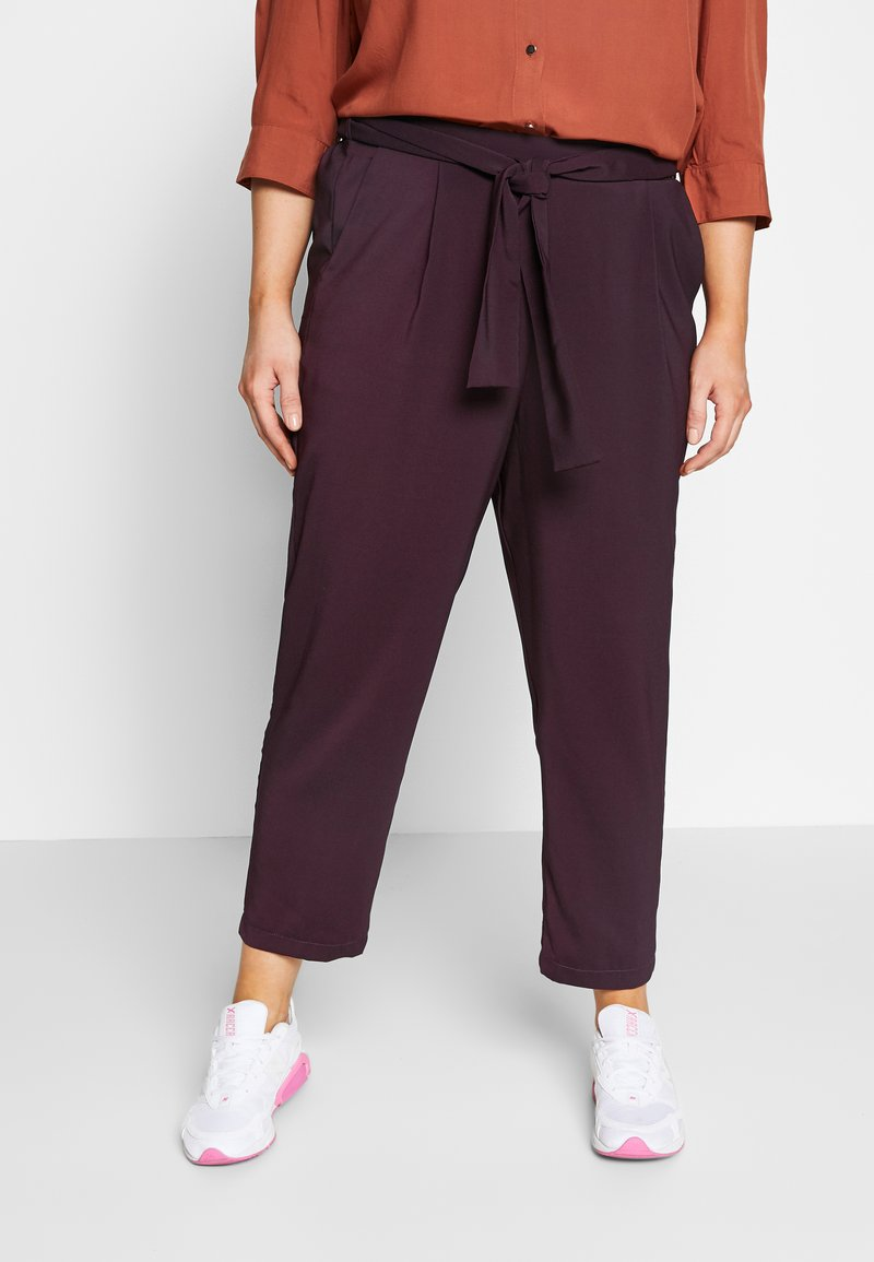 Evans - PLUM TIE FRONT TAPERED TROUSER - Kalhoty - purple