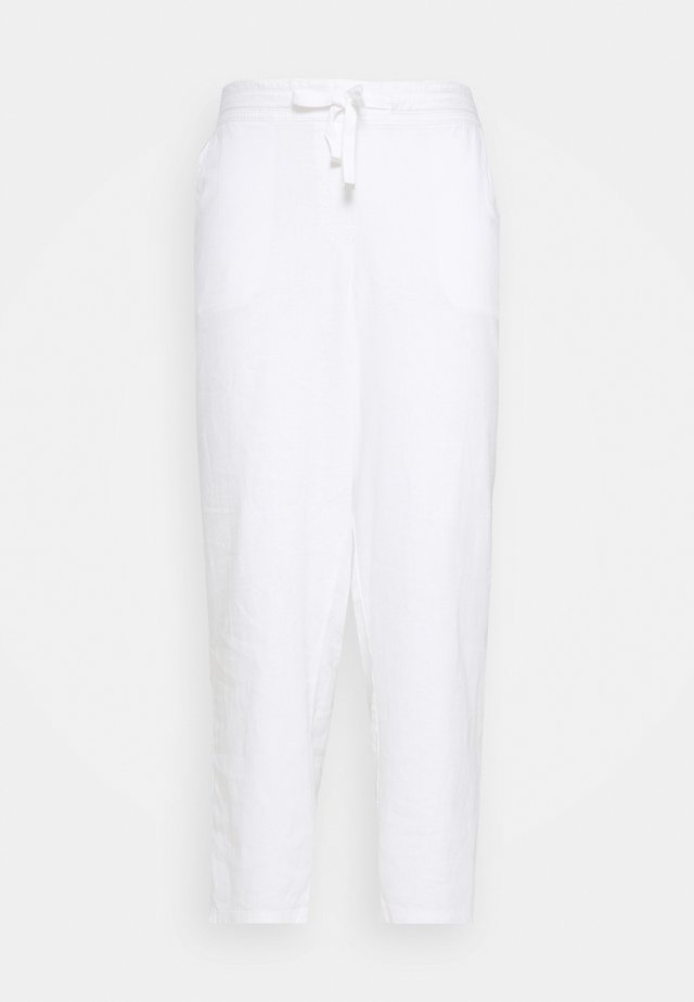 SHORT WHITE LINEN BLEND TROUSER - Kalhoty - white