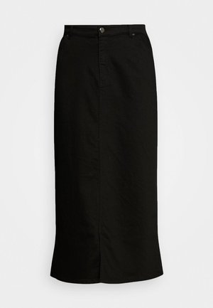 SKIRT WITH ELASTICATED BACK WAISTBAND - Denim skirt - black