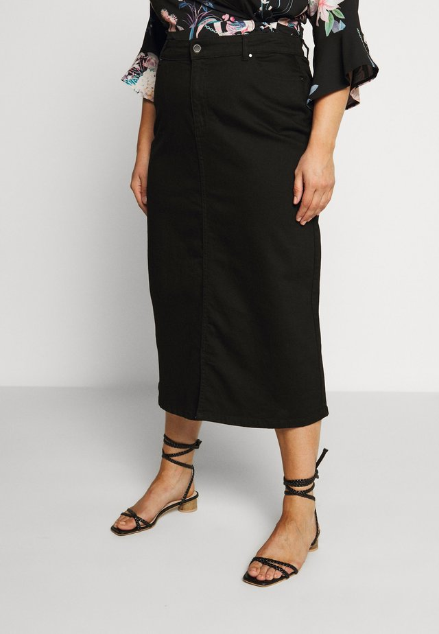 SKIRT WITH ELASTICATED BACK WAISTBAND - Spódnica jeansowa - black