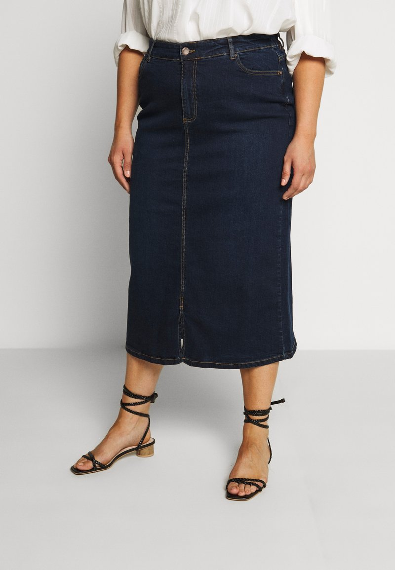 Evans - MIDI SKIRT WITH ELASTICATED BACK WAISTBAND - A-Linien-Rock - indigo