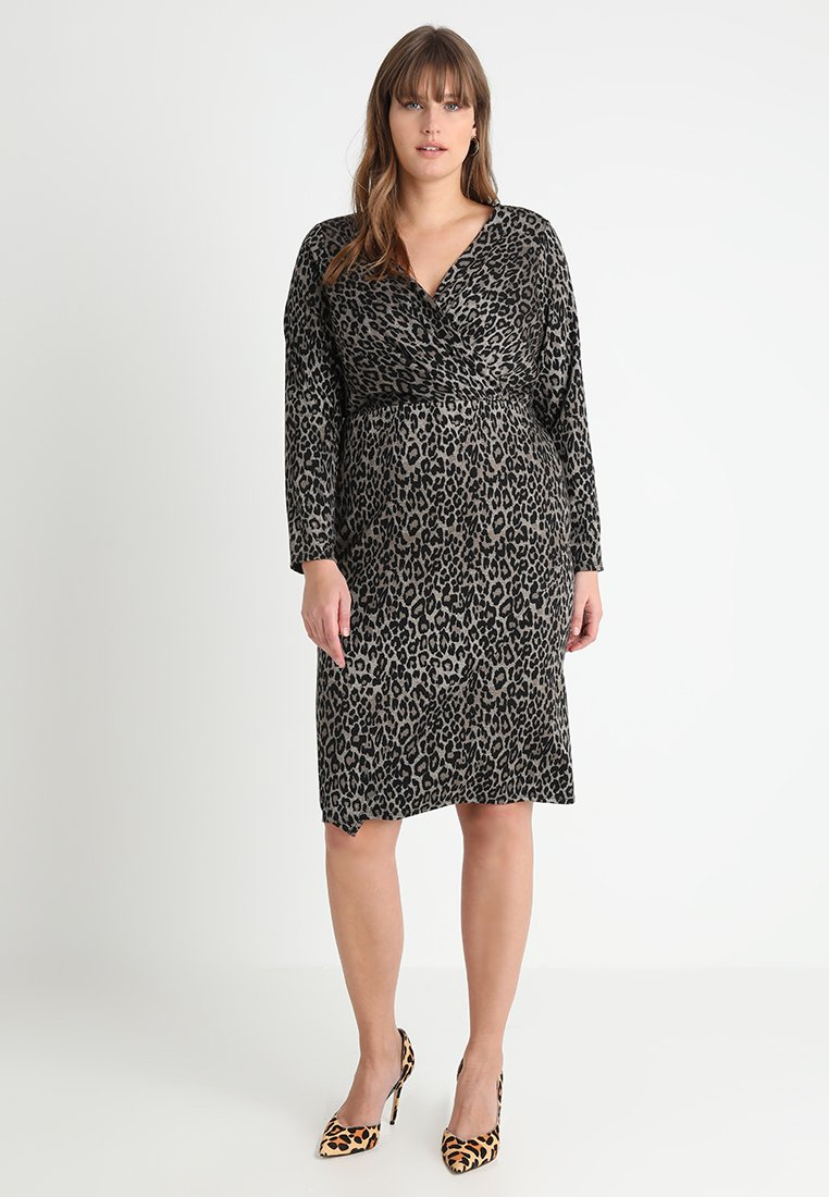 Evans - LEOPARD WRAP DRESS - Jersey dress - multicolor