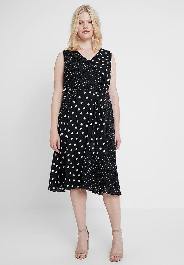 SPOT MIX MATCH WRAP DRESS - Sukienka letnia - black