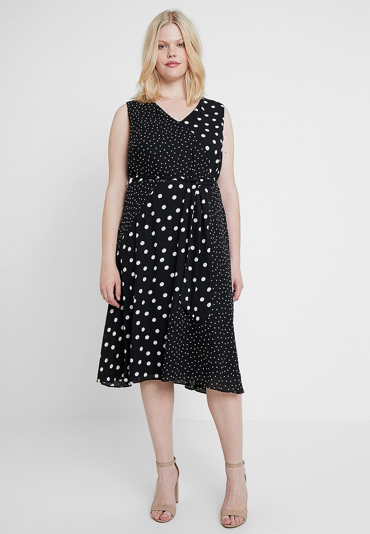 Evans - SPOT MIX MATCH WRAP DRESS - Freizeitkleid - black