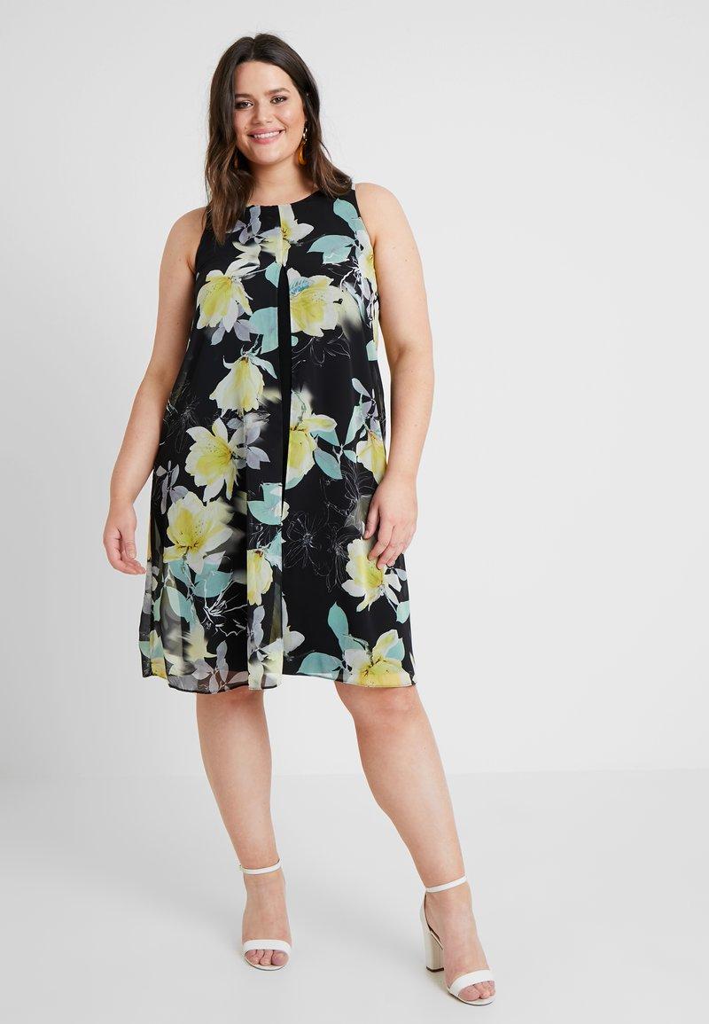 Evans - FLORAL SPLIT FRONT DRESS - Day dress - black