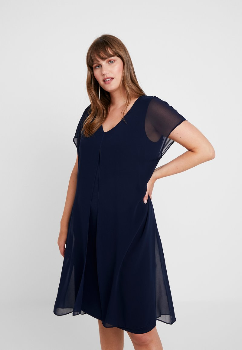 Evans - SPLIT FRONT OVERLAYER - Day dress - navy