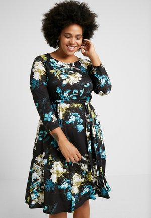 FLORAL FIT AND FLARE DRESS - Trikoomekko - multi