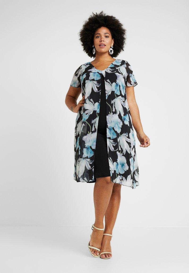 Evans - FLORAL SPLIT FRONT MIDI DRESS - Day dress - multi