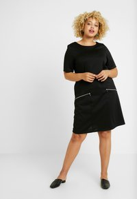 Evans - ZIP SHIFT DRESS - Žerzejové šaty - black - 0