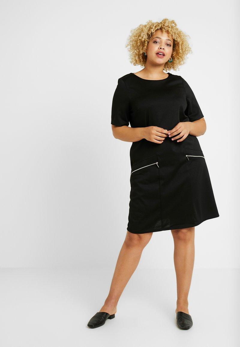 Evans - ZIP SHIFT DRESS - Jerseyjurk - black