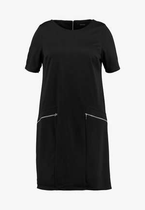 ZIP SHIFT DRESS - Jersey dress - black