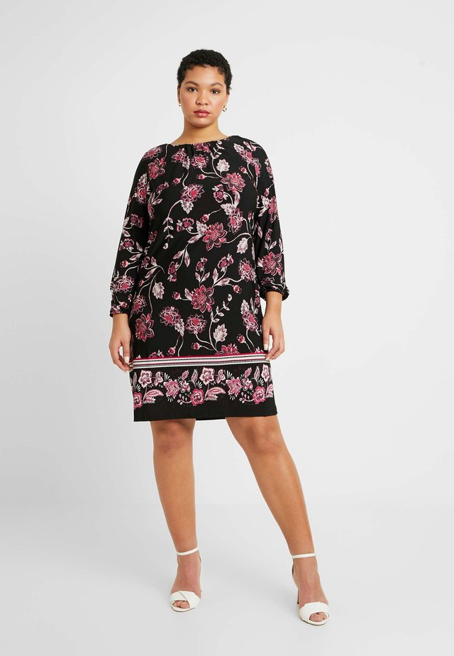 FLORAL BORDER SWING DRESS - Žerzejové šaty - black