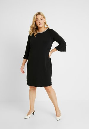 PEARL TRIM FRILL SLEEVE DRESS - Jerseykjoler - black