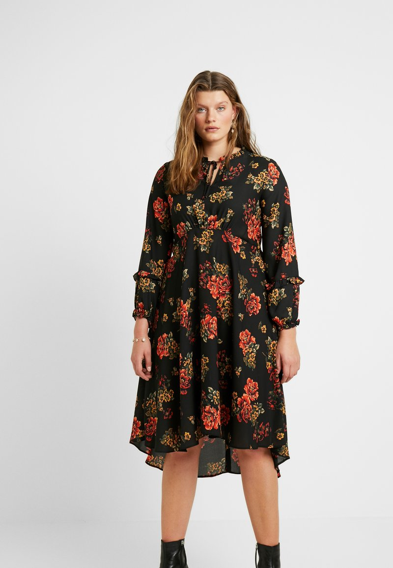 Evans - FRILL NECK  FLORAL DRESS - Denní šaty - multi