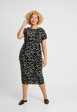 SPOT PLISSE SHORT SLEEVE MIDI DRESS - Vapaa-ajan mekko - black